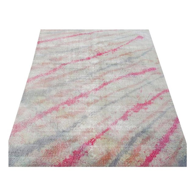 "Modern Pink Colorful Handmade Distressed Wool Rug - 6'5"" X 10'4"" For Sale - Image 4 of 4"