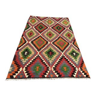 Diamond Vintage Turkish Kilim Rug For Sale