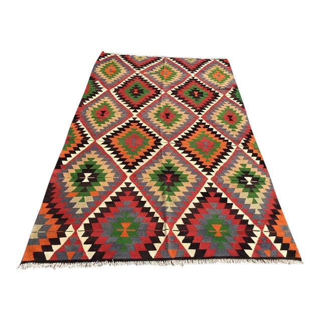 Diamond Vintage Turkish Kilim Rug For Sale