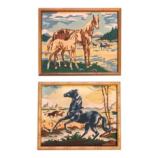 Vintage Mid-Century Horse Paint-By-Numbers Paintings - A Pair For Sale