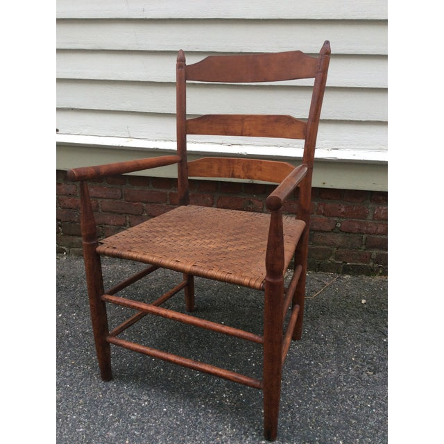 Early American Early 19th Century Antique New England Ladder Back Arm Chair For Sale - Image 3 of 7