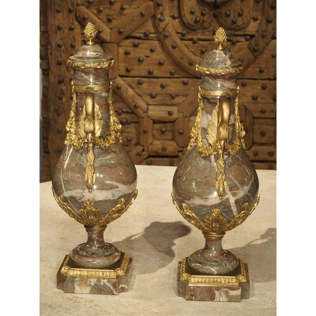 Gray Pair of Circa 1860 Gilt Bronze and Marble Cassolettes from France For Sale - Image 8 of 11