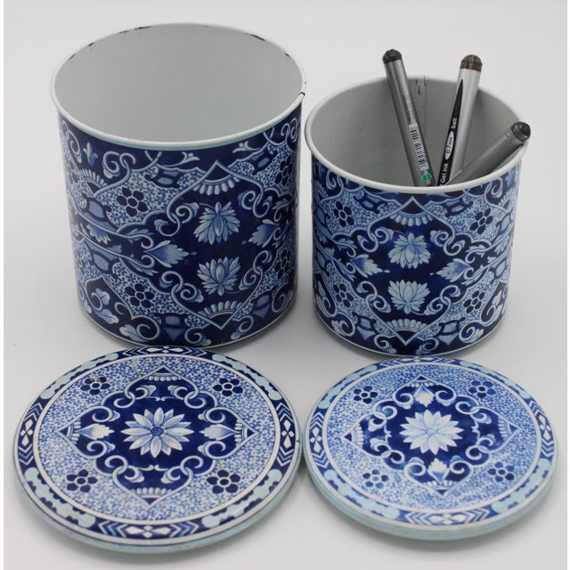 Floral Blue and White Delft Tole Lidded Nesting Canisters - a Pair For Sale - Image 12 of 12