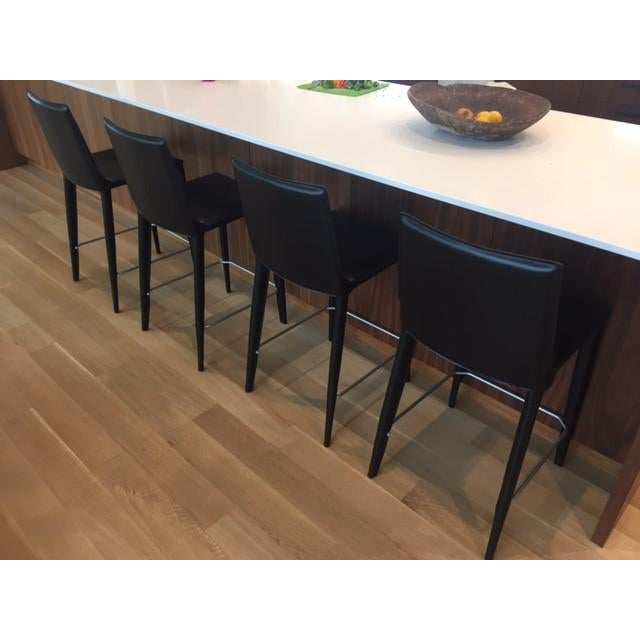 Black Leather Bottega Counter Stools - Set of 4 - Image 10 of 11