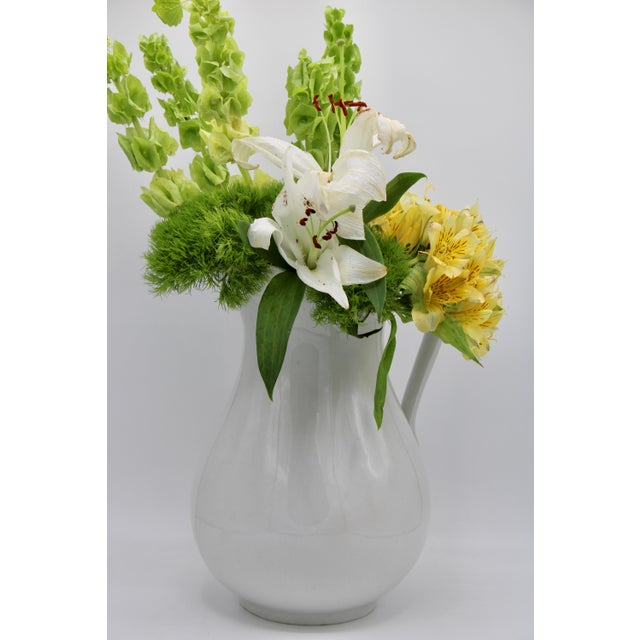 Large Vintage White Ironstone Ceramic Pitcher For Sale - Image 9 of 10