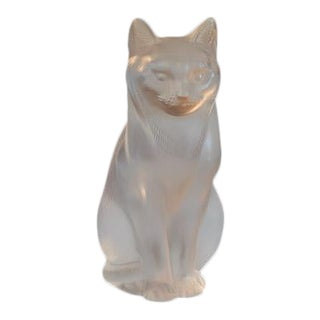 1980s LaLique Standing Frosted Cat For Sale