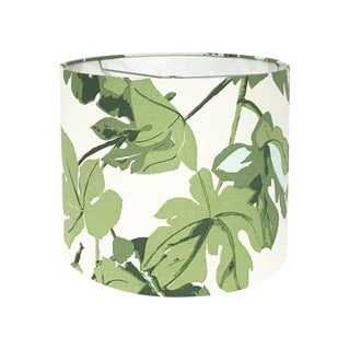 Green Fig Leaf Custom Drum Lamp Shade For Sale