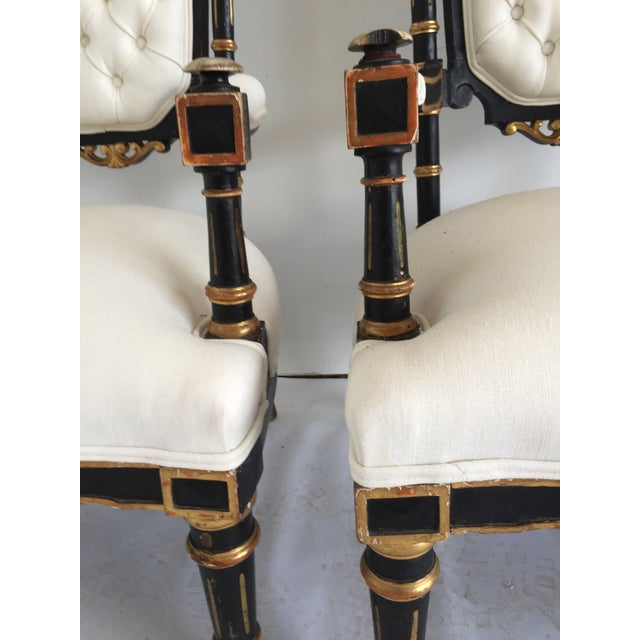 19th Century Ebonized and Gilded Chairs - Pair For Sale - Image 4 of 5