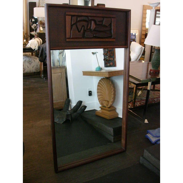 Brutal Carved Mahogany Oversized Mirror For Sale - Image 4 of 5