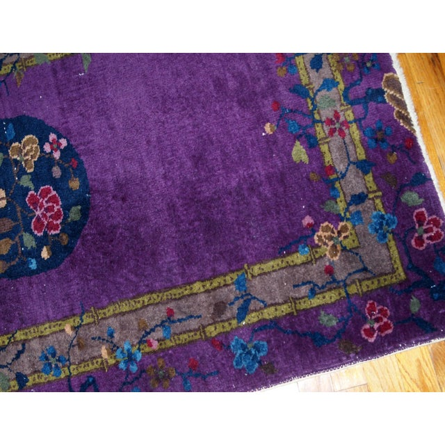 1920s, Hand Made Antique Art Deco Chinese Rug 2.10' X 4.9' For Sale - Image 10 of 13