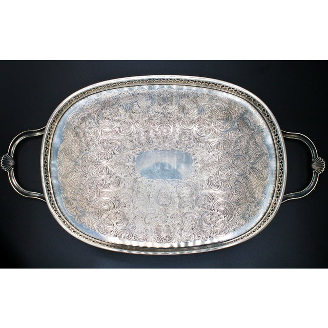 Art Deco English Silver Plate Handled Tray With Gallery For Sale - Image 13 of 13
