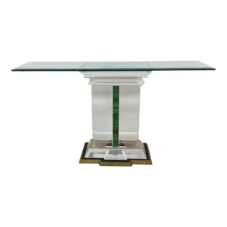Jeffrey Bigelow Lucite and Malachite Console Table For Sale