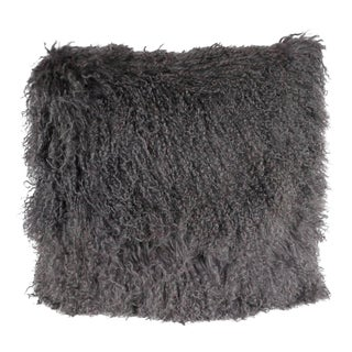 Custom Handmade Mongolian Lamb Pillow in Slate Gray with Cashmere Wool Back For Sale