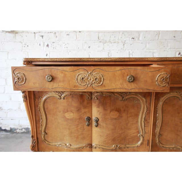 Romweber Ornate Burl Wood French Carved Sideboard Credenza For Sale In South Bend - Image 6 of 12