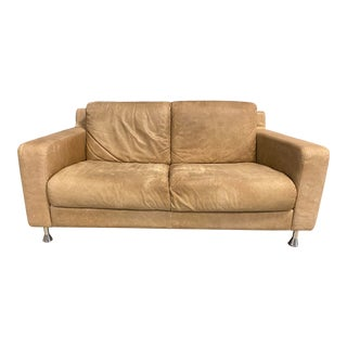 Italian Distressed Tan Leather Loveseat For Sale