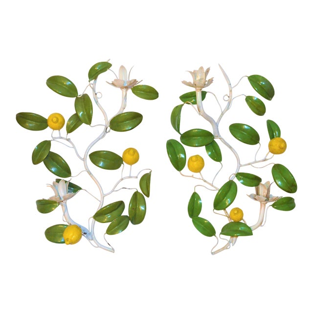 Italian Hand Painted Lemon Tree Tole Wall Sconces - a Pair For Sale