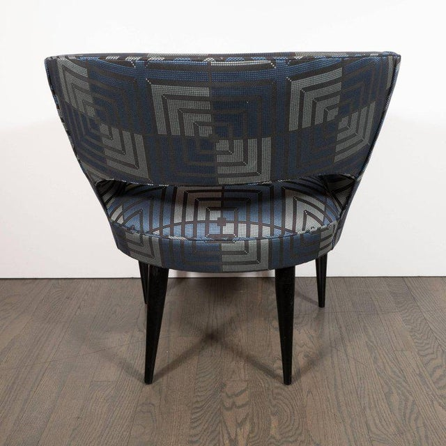 Wood Mid-Century Modern Club Chair in Sapphire & Platinum Fabric With Ebonized Walnut For Sale - Image 7 of 8