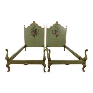 19th Century English Victorian Regency Paint Decorated Twin Beds - a Pair For Sale