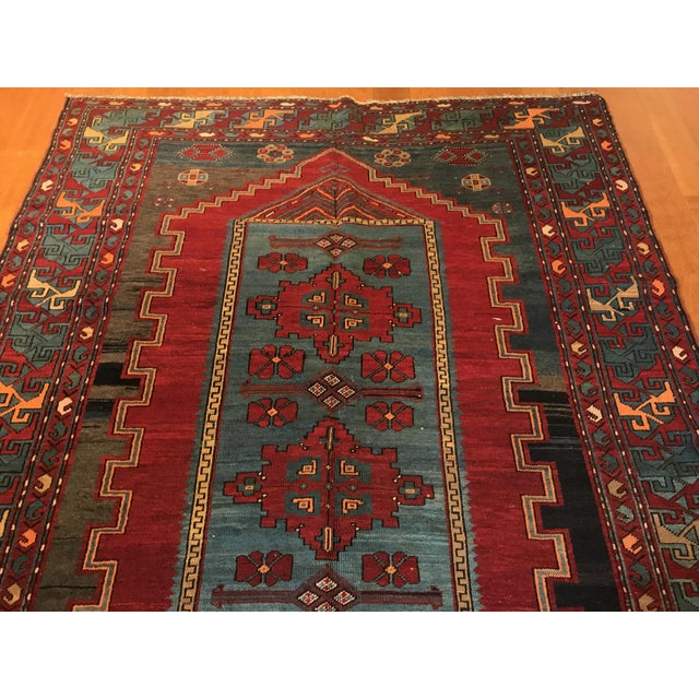 Antique Turkish Kazak Rug - 5′7″ × 8′1″ For Sale In San Francisco - Image 6 of 9