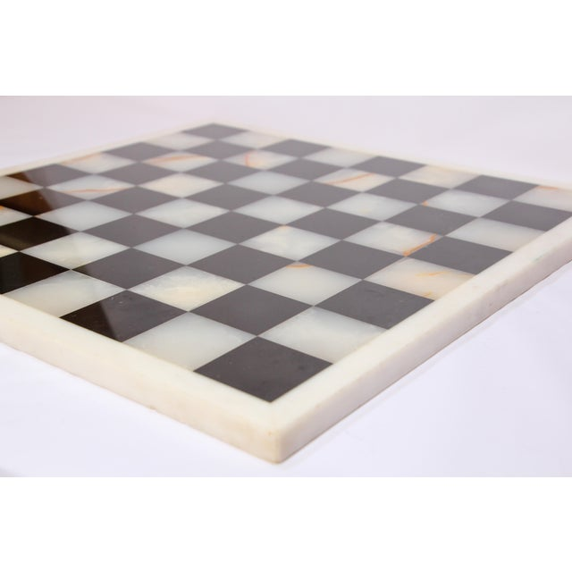 Vintage Marble Chess Board With Hand Carved Black and White Onyx Chess Pieces For Sale - Image 10 of 13