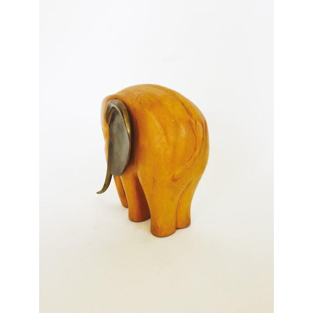 Vintage Large Wood and Brass Elephant - Image 5 of 6