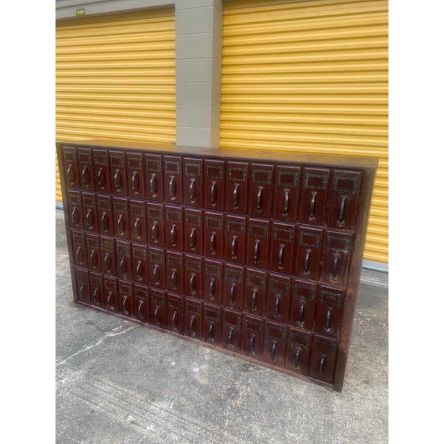 Burgundy Mid 20th Century Vintage Industrial File Cabinet For Sale - Image 8 of 11