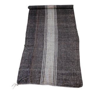 Vintage Flat-Weave Turkish Rug in Brown and Light Colored Stripes For Sale