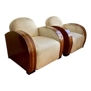 Early 20th Century Francis Jourdain Art Deco Club Chairs - a Pair For Sale