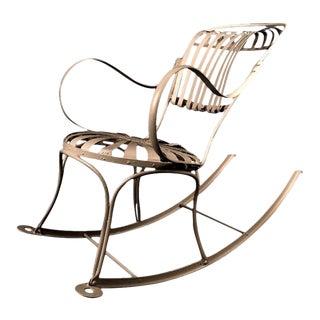 Francois Carré Spring Sunburst Iron Rocking Chair, circa 1920 For Sale