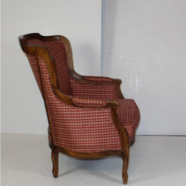 Louis XV Style Wing Back Chair & Ottoman - Image 4 of 6