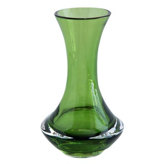 Gunnar Ander for Lindshammar Swedish Mid Century Green Glass Vase For Sale