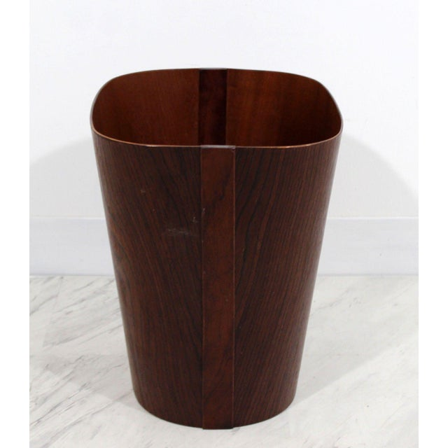 Mid Century Modern Small Wooden Wastebasket Trash Can Mobler Denmark 1960s For Sale - Image 10 of 12