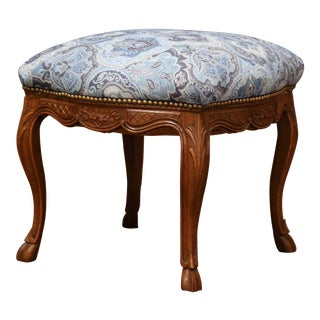 19th Century French Louis XV Carved Oak Stool For Sale