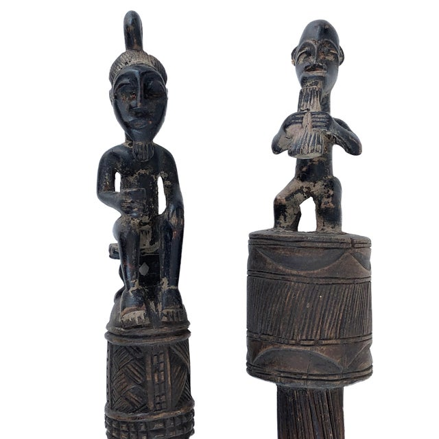 African Baule Brooms with Figures - a Pair For Sale - Image 4 of 10