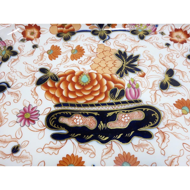 Late 19th Century Antique Bone China Imari Style Serving Tray For Sale - Image 5 of 13