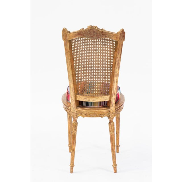 19th C. French Giltwood Side Chair With Donghia Stripped Silk Velvet