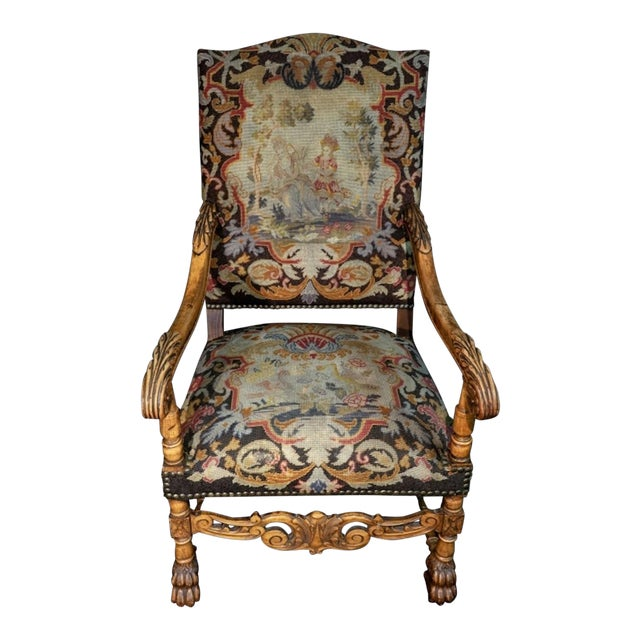 Mid 19th Century Antique Carved Needlepoint Armchair For Sale