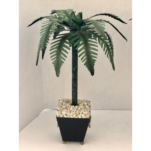 Hollywood Regency Tall Tole Painted Palm Tree Candlesticks Holders in Planters, A-Pair For Sale In West Palm - Image 6 of 12