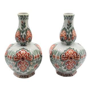 Antique Dutch Delft Polychrome Vases - a Pair For Sale