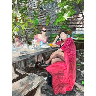 """""""Long Summer Lunches"""" Contemporary Figurative Oil Painting on Yupo by Christy Powers, Framed For Sale"""