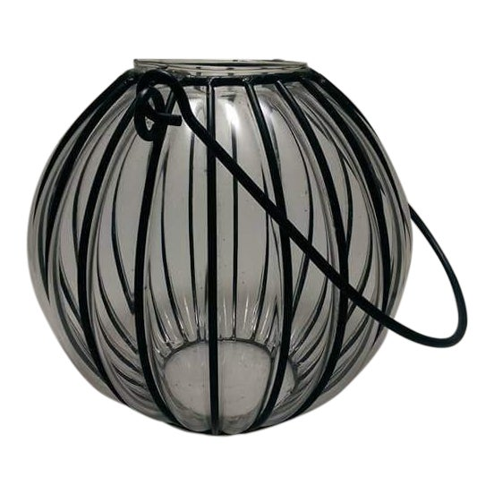 Caged Bubble Glass & Wrought Iron Lantern Hanging Basket For Sale