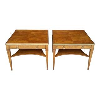 1970's Baker Walnut & Brass Lamp Tables - a Pair