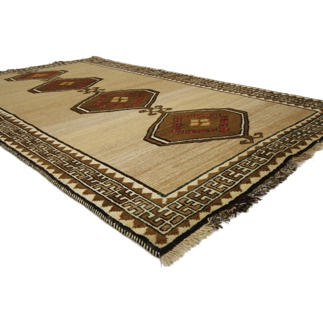 76546, vintage Persian Shiraz Accent rug with modern tribal style. This hand-knotted wool vintage Persian Shiraz rug with...