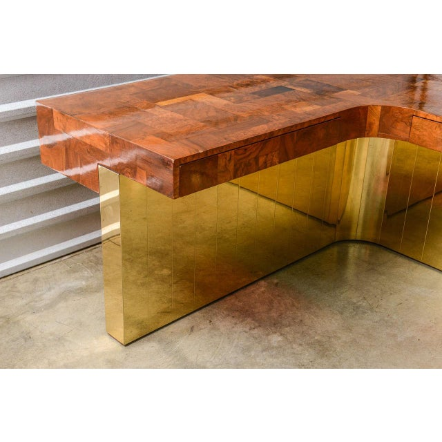 Metal Very Rare Brass Bottom Directional Cityscape Desk by Paul Evans For Sale - Image 7 of 10