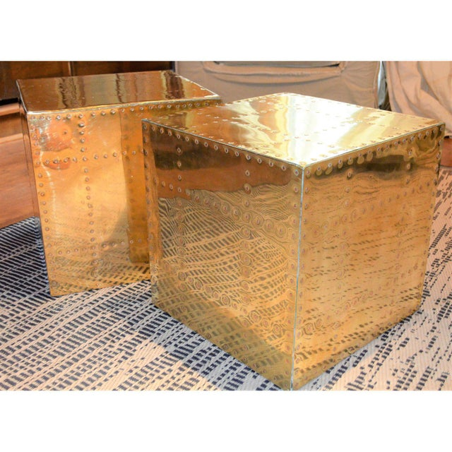 1970s Sarreid Ltd. Brass Cube Side Tables - a Pair For Sale - Image 5 of 10