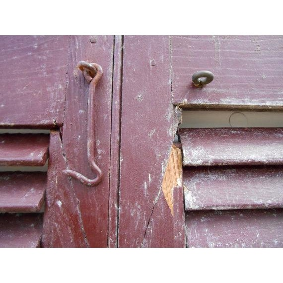 Primitive Red Shutters - A Pair For Sale - Image 5 of 6