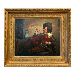 Mid 19th Century French Portrait Oil Painting by G. Georges, Framed For Sale