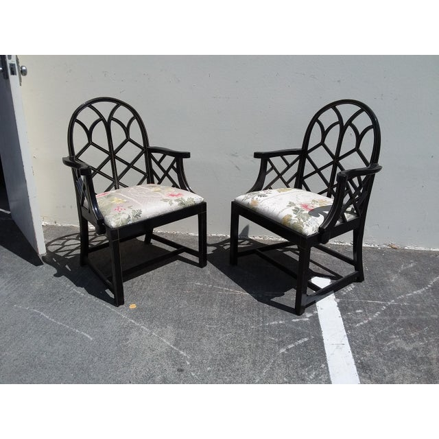 Lattice Work Back Black Arm Chairs - a Pair For Sale - Image 10 of 11