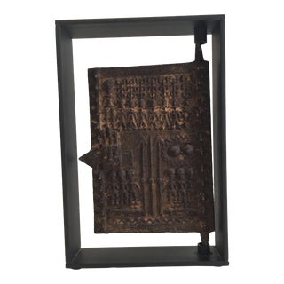 Sculptural Bronze Dogon Mounted Door For Sale