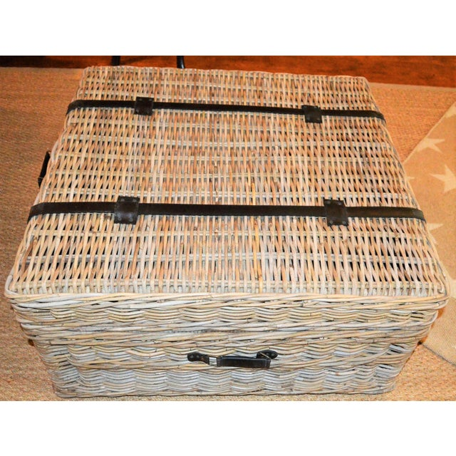 2010s Boho Chic Woven Rattan Coffee Table Trunk For Sale - Image 5 of 13